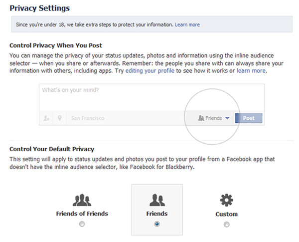 Recommended privacy settings - sharing with Friends