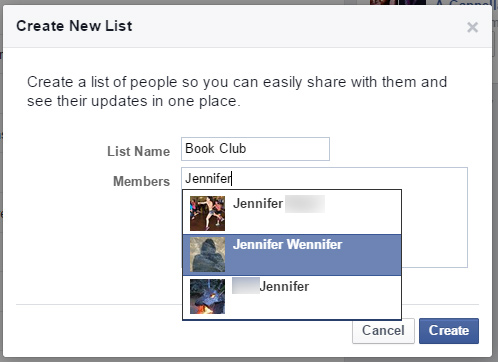 Create list and add members in Facebook