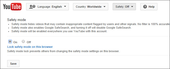 Enable YouTube Safety Mode