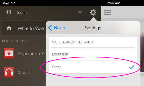 Strict safe search filtering on YouTube app