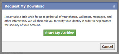 Request Download of Your Facebook Data
