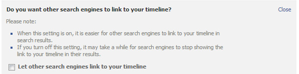 Can search engines link to your timeline?