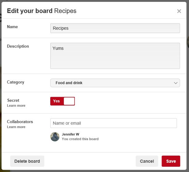 Create a private Pinterest board