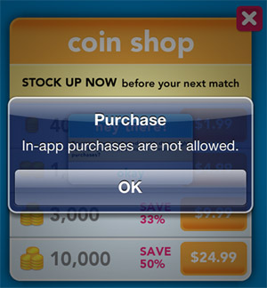 In-app purchases are not allowed