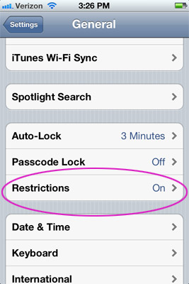 Restrictions under General Settings