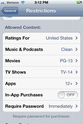 Restrict In-App Purchases in Restrictions on iPod touch or iPad