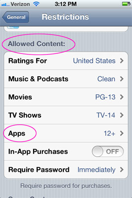 Allowed Content screen in Restrictions settings