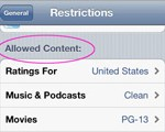 Allowed Content restriction setting
