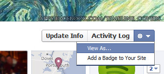 Screenshot showing 'view as' link for Facebook timeline