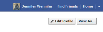 Screenshot showing 'view as' link for Facebook profile