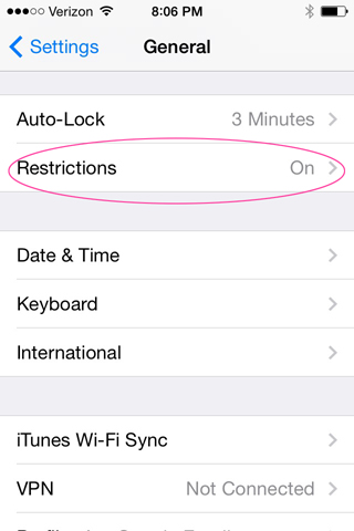 Restriction Settings in iPod touch