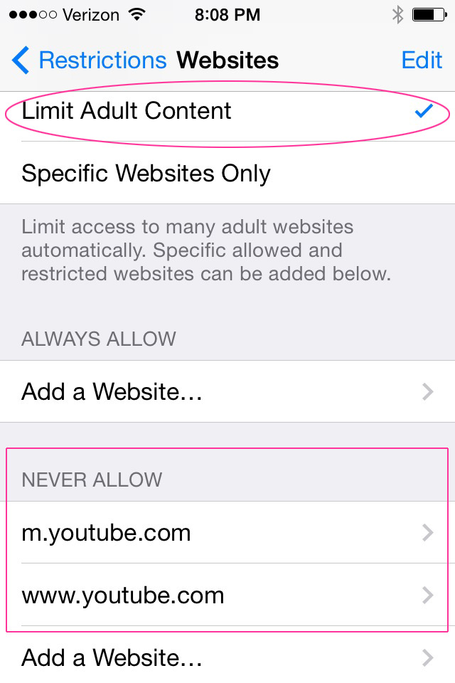Use the 'Limit Adult Content' setting to restrict YouTube web site