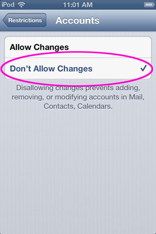 Don't Allow Changes selected under Accounts