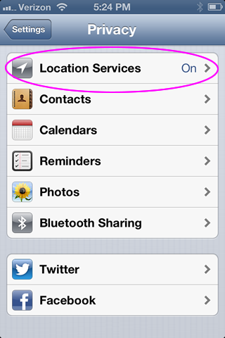 Location Services under Privacy