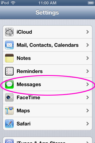Messages icon circled in Settings