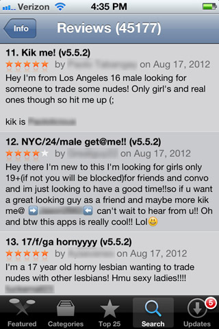 More reviews of the Kik messenger app