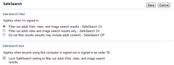 Lock Yahoo Safe Search