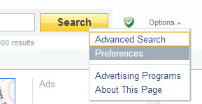 Yahoo Search Preferences