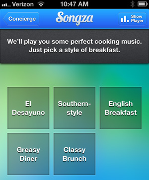 Songza concierge offers suggestions for Sunday morning breakfast