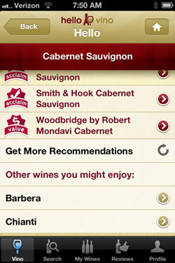 Hello Vino Cabernet suggestions for pizza