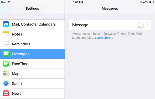 iMessage turned off in iOS Settings