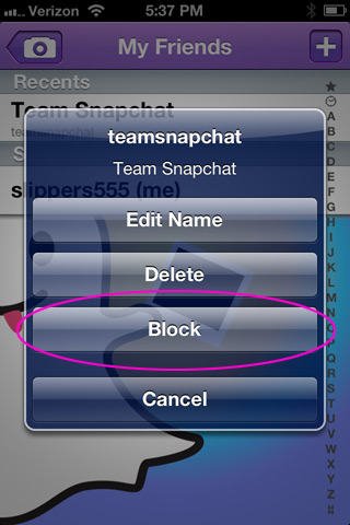 Block a friend on Snapchat