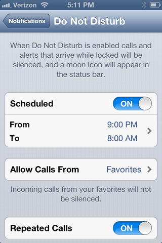 Set up a Do Not Disturb schedule
