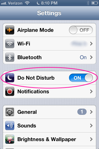 Turn on Do Not Disturb in iOS 6