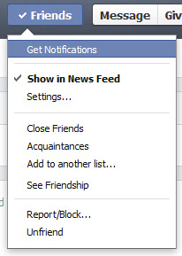 Friend settings in Facebook