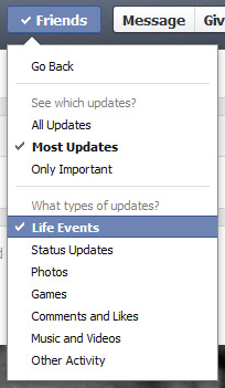 Only show most updates in Facebook