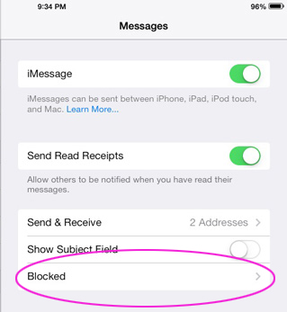 Block someone from sending you a message in iOS 7