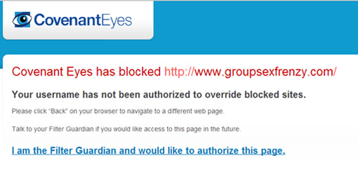 Covenant Eyes blocking an inappropriate site