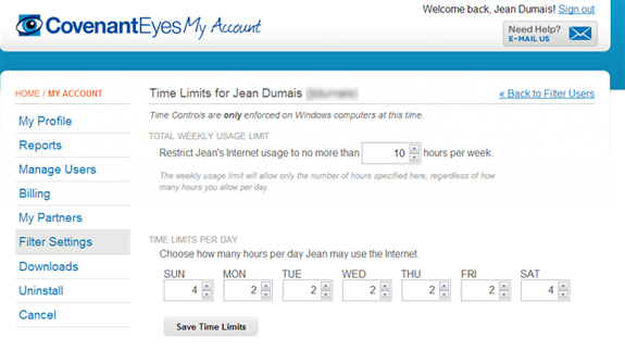 Setting time limits with Covenant Eyes