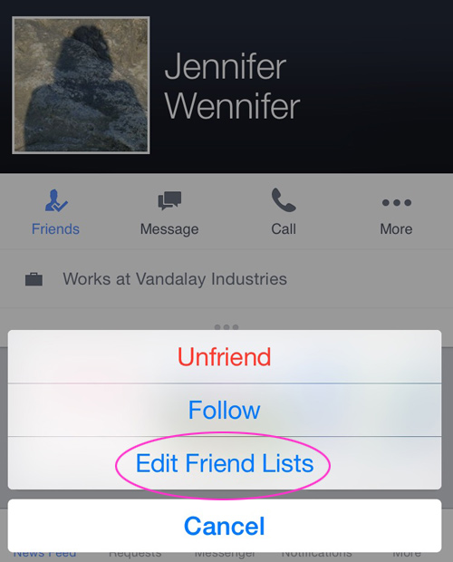 Edit Friend Lists on Facebook mobile app