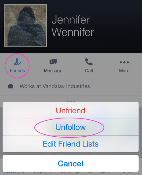 Unfollow a friend on Facebook mobile app