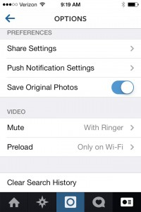 Settings in Instagram