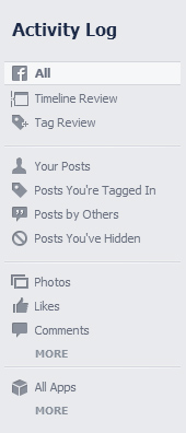 Activity Log page on Facebook
