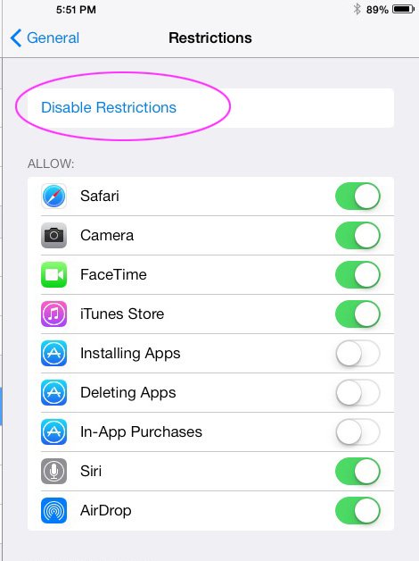 Disable Restrictions