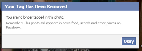 Confirmation of removal of a Facebook tag