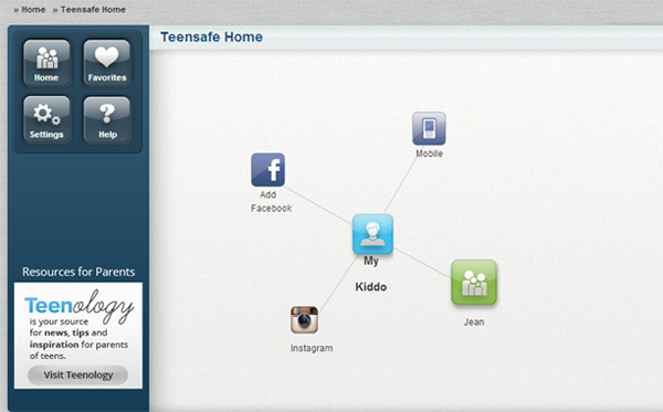 TeenSafe home screen