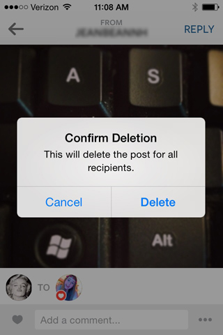 Deleting a direct instagram message