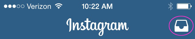 Instagram Direct icon within the Instagram app
