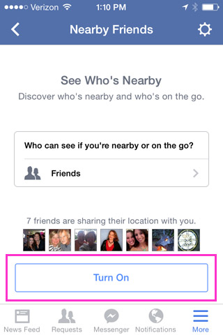 Screen showing how to turn on Nearby Friends in Facebook app