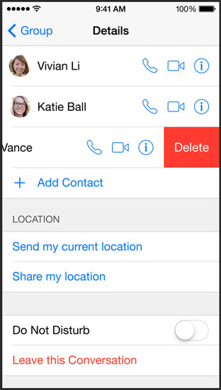 ios8 - leave a group conversation