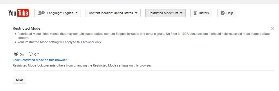 How to turn on You Tube Restricted mode for safer YouTube viewing