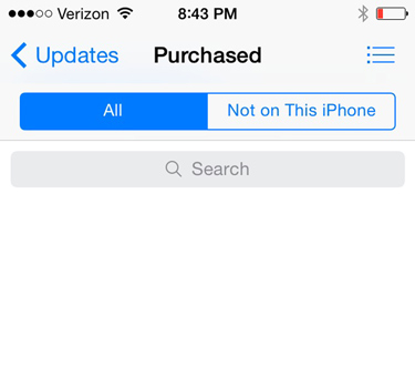 In iOS7 you can't see shared family purchases