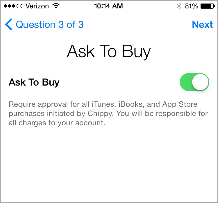 Setting up Ask to Buy in Family Sharing for Apple devices