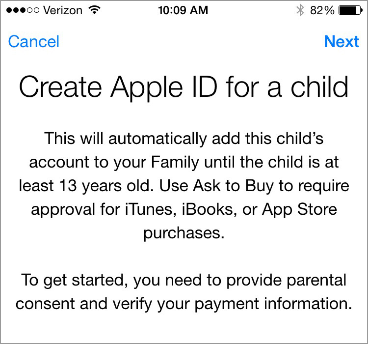 Screenshot while setting up family sharing for a child under 13