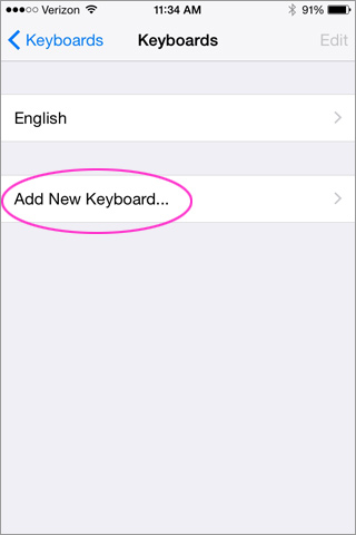 Select Add New Keyboard