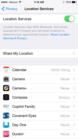 Location Services settings in iOS8